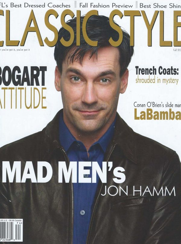 Sam Russell Portfolio - Jon Hamm wearing John Varvatos for Classic Style photography by Deverill Weeks