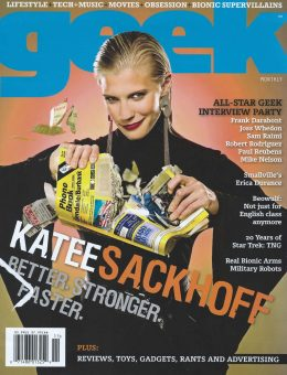 Sam Russell Portfolio - Katee Sackhoff wearing Norma Kamali for Geek Monthly