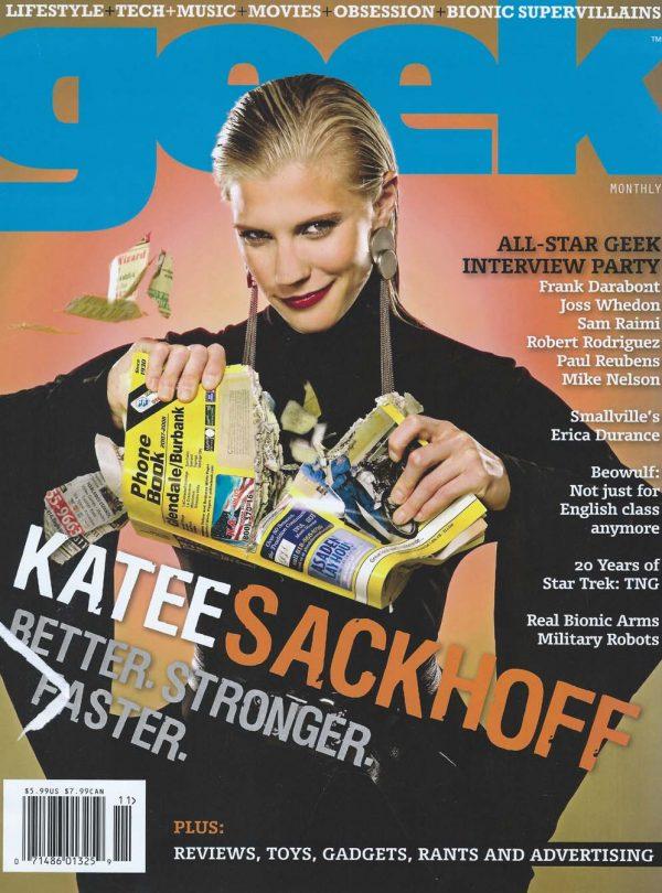 Sam Russell Portfolio - Katee Sackhoff wearing Norma Kamali for Geek Monthly